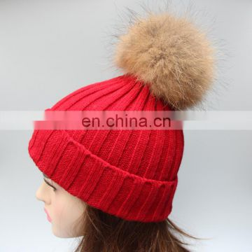 2015 Winter fur pompon hats female high quality knitted hat with ball top for women