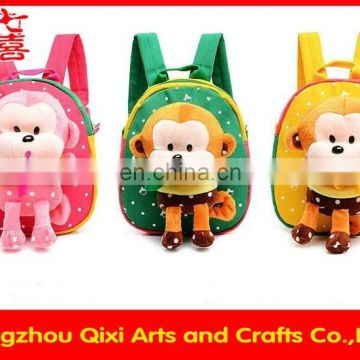 China custom kids animal backpack plush monkey shaped backpack children monkey backpack