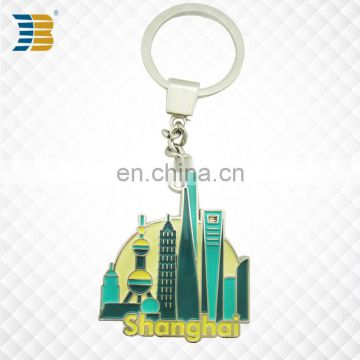 3D Shanghai landmark building custom made metal keychain