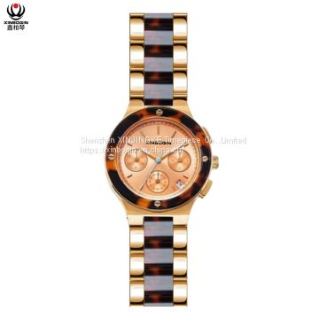 XINBOQIN Manufacturer Custom Brand New Style Casual Fashion High Quanlity Luxury Wood Japan Movt Quartz Acetate Women's WatchXINBOQIN Supplier Custom Brand New Girls Fashion Tide Luxury Brand Quartz Waterproof Acetate Watch