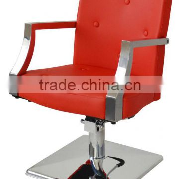 red antique salon chairs with stainless steel armrest