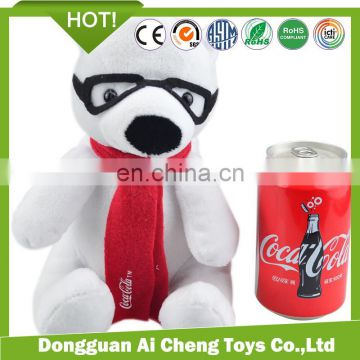 christmas promotion plush toy polar bear with scarf