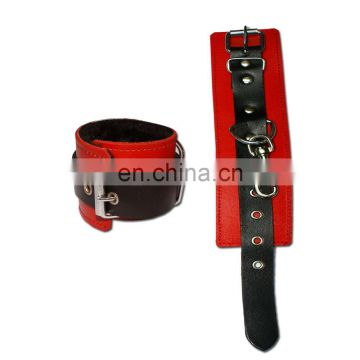 HMB-404C LEATHER WRIST ANKLE BANDS RESTRAINT CUFFS BRACELETS 2PCS SET