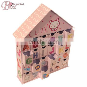 Cardboard Cute Cartoon House Shaped Storage Box with 24 Mini Drawers