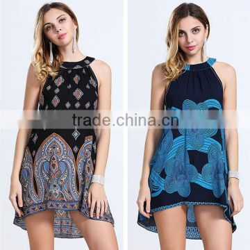 2016 Summer Women Vintage Printed Beach Dresses Ladies Halter Neck Sleeveless Bow Back Short Frock Dress