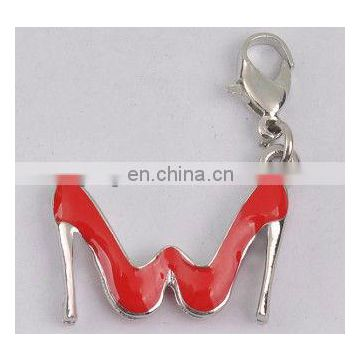 2012 hot seller high heel charm with red enemal