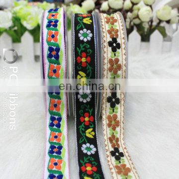 Wholesale Flowers Embroidered Jacquard Ribbon