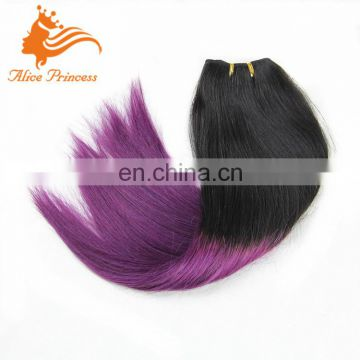 Ombre Colored Dark Roots Human Hair Weave 1B T Purple Silky Straight Hair Weave Virgin European Hair Bundles In Stock