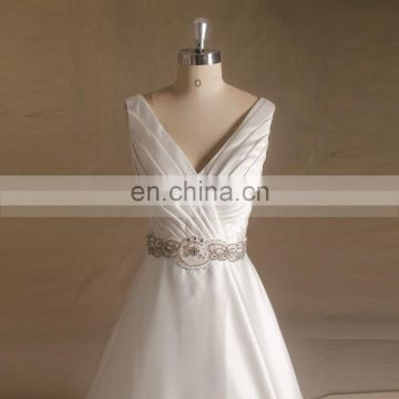 Elegant V-Neck Rhinestone Beaded Pleating A -line Wedding Dress