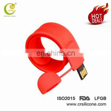 Christmas Gift Present Hot Sale Silicone Wristband Slap Band Bracelet 2gb 4gb 8gb Usb Flash Drive
