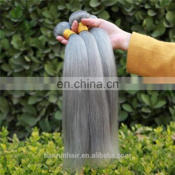 100% Pure Grey Silky Straight Brazilian Human Hair Weaving Wholesale Human Hair Extensions