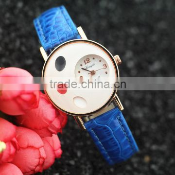 Vogue Women's Unique Design Heart Dial Leather Strap Watch Charm Lady Quartz Wrist Watch