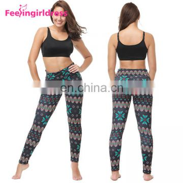 No Moq Work Out Custom Fashion Print Soft High Waist Snowflake Leggings Manufacturer