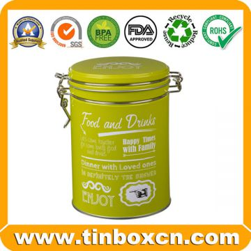 Round Metal Airtight Tin for Food and Drinks Packaging Box