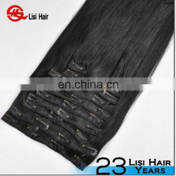 2015 Best Sale Double Sewing Factory Price 120g 160g 200g 260g black hair clip ons