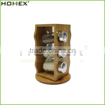 Bamboo 6 Pepper Filled Bottle Spice Rack/Homex_Factory