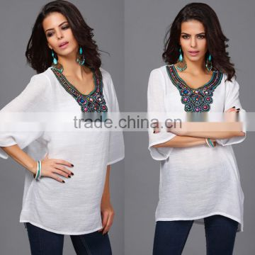 Hotsale O-neck Printed Retro Vintage Bohemian Loose Casual Chiffon shirts Blouse top clothing for women