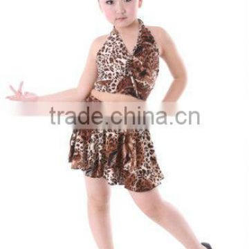 XC-036 Fancy dress kids costumes leopard latin skirt cheap dance girls party dresses