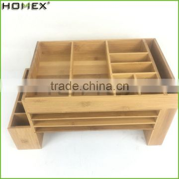 Bamboo Office Supply Caddy Desk Organizer File Stand Homex-BSCI Factory