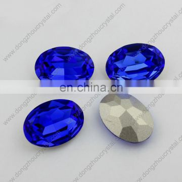 China Wholesale Oval Crystal Fancy Stone Silver Base Point Back Crystal Stone For Earring Jewelry