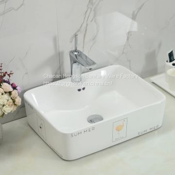 simple decal wash basin bathroom ceramic sink