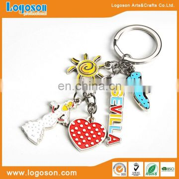 2016 New Design Metal Custom Greece Promotional Keychain Charms