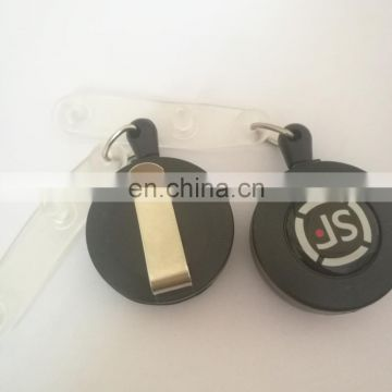 retractable id card holder frosted black color with epoxy logo