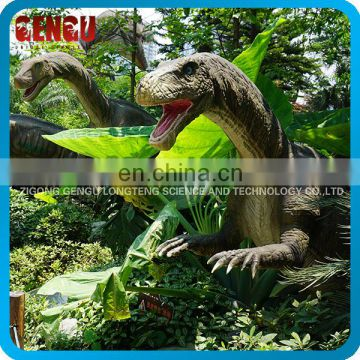 Theme park outdoor dinosaur exhibits shows