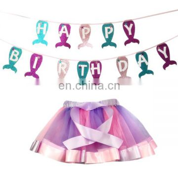 mermaid birthday decoration banner girls tutu dress Happy birthday