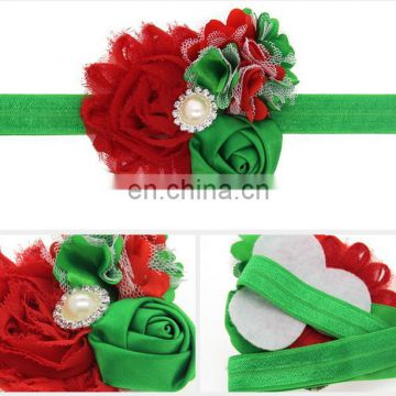 Christmas decorations Rose chiffon flower elastic baby kids hair band Children hair accessories