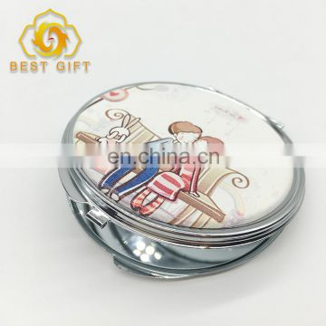 Lovers Design Blank Sliver Metal Leather Folding Makeup Mirrors