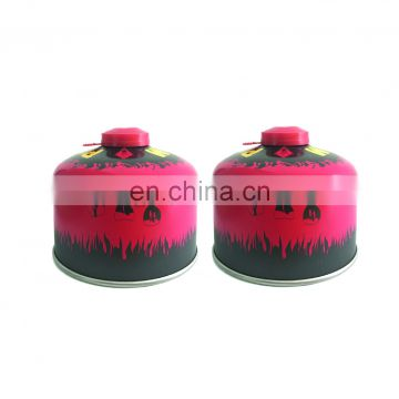 Outdoor alpine butane gas canister and tin aerosol can