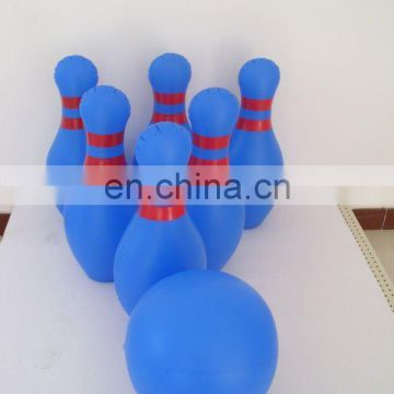 Inflatable bowling pins in blue