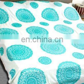 Suzani Hand Embroidered Bed Cover Throw Vintage Cotton Bedspread Indian Handmade Bed Cover