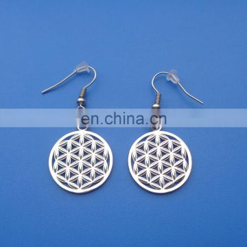 Silver plating hollowed-out design round shape flower of life metal earring