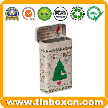 Rectangular metal mint tin box for candy packaging