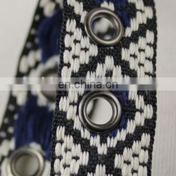 Hot sale jacquard ethnic ribbon eyelet tape for fashion accessories