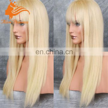 cheap lace front wig with bangs blonde human hair wig