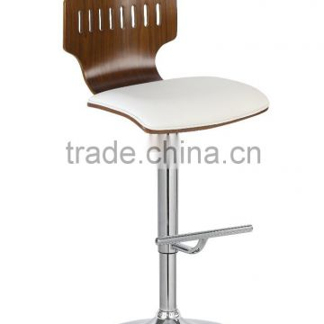 2016 Latest Good quality industrial wooden upholstery seat bar stool high bar chair with metal legs