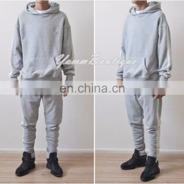 Mens Jogging Suits Sweatsuit Double Striped Tracksuit / Pants - Hoodie - Athletic Reversed Striped Side Panels Zips Ankles