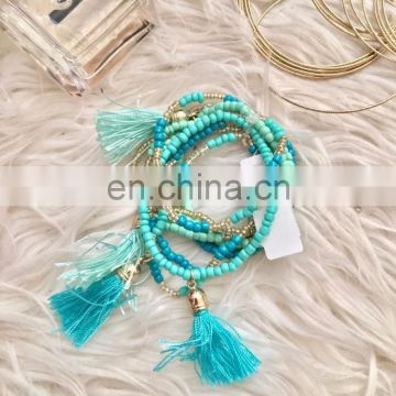 Blue Stretch Tassel Bracelets shell stretch bracelet blue beaded bracelet stretch bracelets