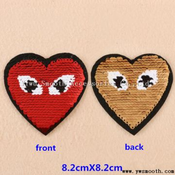 Fashion Reversible Heart Sequin Designs Embroidery Patches