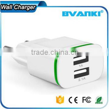 Universal 5V 2A EU AC Travel LED Light dual USB Wall Charger for iPhone 6 6S for Samsung Galaxy S5 S6 S7 Cell Phones Adapter