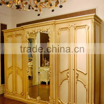 French Rococo Style Six Door Wardrobe Closet With Mirror/ European Classic  Wood Carved Wardrobe Cabinet ...