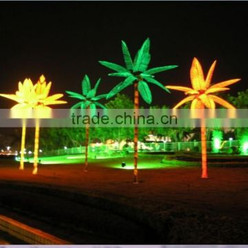 Home garden decorative 16.5ft Height outdoor artificial green flashing LED solar lighted up Date palm trees with bark EDS06 1415