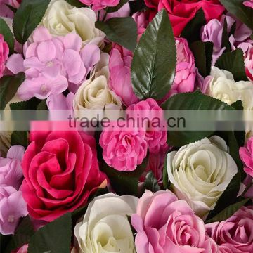 SJ2017300207 Hot sale artificial flower green wall hanging silk rose wall for weeding decoration