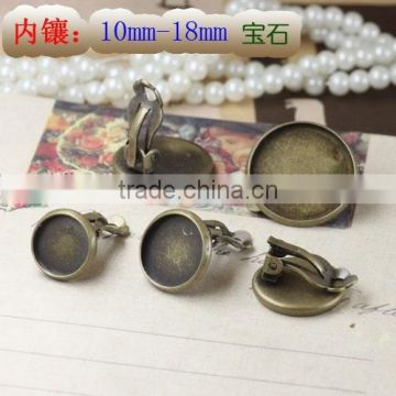 12-16mm Round Cabochon Bezels Antique Bronze Tray Settings Earrings Blank Base For Jewelry DIY