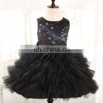 Black Baby Girl Tulle Dress Sleeveless Embroidery Tutu Frock Ballerina Dress Party Invitations