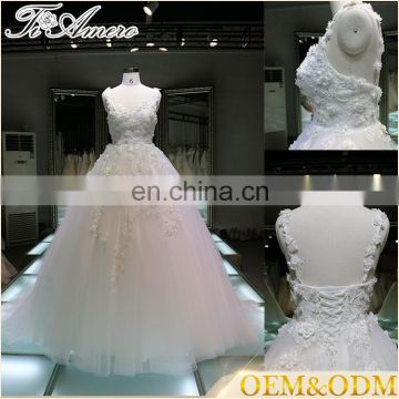 2017 custom made oem odm ball gown lace wedding dress pattern