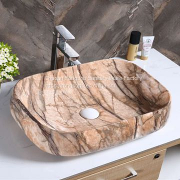 Factory wholesale ceramic square bathroom tabletop color design wash hand basin sink